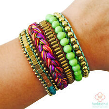 Fitbit Flex Hiding Bracelet -Rosie Green Colorful Beaded Layered Fitbit Bracelet