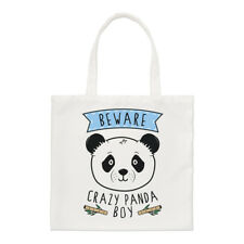 Beware Crazy Panda Boy Regular Tote Bag Funny Animal Shoulder Shopper