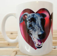 Greyhound Mug Gift Hearts, Black Greyhounds. Birthday Gift % to Hound Charity