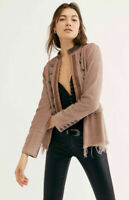 Free People Lucy Military Inspired Raw Hem Peplum Brown Jacket Size S NWT $198