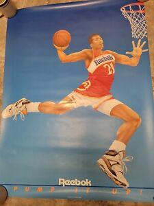 DOMINIQUE WILIKINS REEBOK PUMP Poster 1990s Vintage BRYAN ROBLEY art RARE! NBA