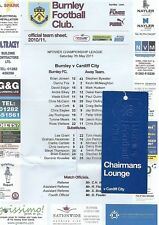 Football Teamsheet+Tickets inc Chairmans Lounge>BURNLEY v CARDIFF CITY May 2011
