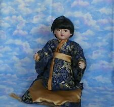 "Older Vintage Oriental Doll, Porcelain 12"" good condition displayed"
