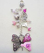 Pink Butterfly Rhinestone Love Bird Flower Crystal Keyring Holder  Bag Charm