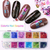 12 Colors Nail Art Sequins Letter Colorful Holographics Nail UV Gel Polish Decor