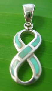 100% REAL 925 sterling silver 9mmx27mm Infinity Tuquoise PENDANTS - GIRL WOMEN