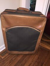 "L L Bean Rolling Leather Trimmed Suitcase 28"" By 21"""