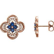 14 Quilates ROSA ORIGINAL Zafiro Azul & 1/5 CT. Tw. Diamante Trébol Pendientes