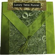 """GREEN EMBROIDERED TABLE RUNNER LUXURY ORGANZA SATIN SILK POLYESTER 13x72"""""""