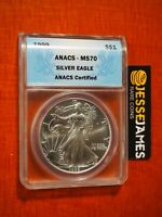 1999 $1 AMERICAN SILVER EAGLE ANACS MS70 BLUE LABEL KEY DATE