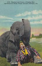Barnum & Bailey Elephant & Clown Sarasota Florida Linen Postcard 1959