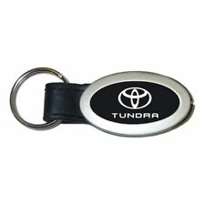 Toyota Tundra Key Ring Black and Chrome Leather Oval Keychain