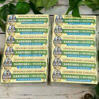 12 Cans (4.375 oz each) Season Wild Caught Sardines Olive Oil Skinless Boneless