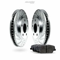 Front Drilled Slotted Brake Rotors Disc and Ceramic Pads For Sebring,Stratus