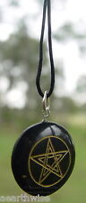 1 x BLACK ONYX PENTACLE PENDANT WITH CORD Wicca Witch Goth Pagan PENTAGRAM