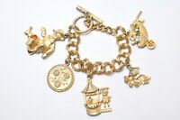 Vintage Gold Tone Metal Charm Bracelet Large Chunky Charms