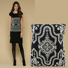MONSOON Black Cynthia Embroidered Cap Sleeve Scooped Neckline  Shift Dress UK12