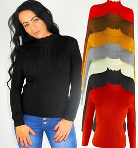 LONG SLEEVE SKINNY FIT HIGH NECK PIE FRILL COLLAR SCALLOPED JUMPER RIBBED 8 14