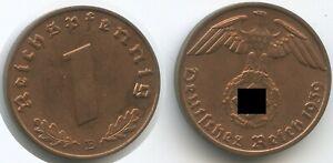 S0303 - Germany Third Reich 1 Reichspfennig 1939 B KM#89 XF-UNC Swastika