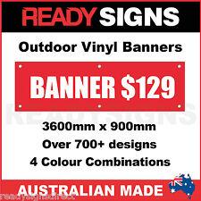 CUSTOM VINYL BANNERS - 3600mm x 900mm - Australian Made  - 700+ Designs