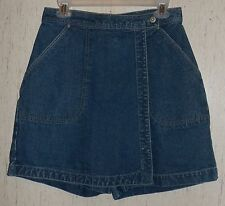 WOMENS BILL BLASS JEANS PETITE DISTRESSED BLUE JEAN SKORT  SIZE 10P