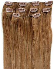 Clip en Remy 100% cabello humano Real extensiones media cabeza más ligero marrón 10#