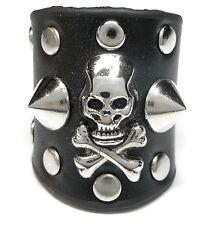 NEU 22mm/69 Lederring RING Echt Leder TOTENKOPF SKULL Metall NIETEN Top Gothic