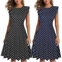 Women's Vintage Ruffle Polka Dot Flared A Line Swing Casual Cocktail Party Dress