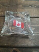Vintage Canadian Flag Glass Collectible Ashtray