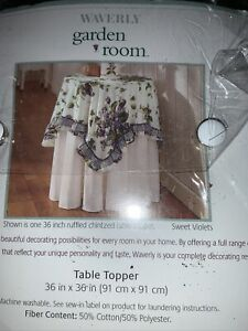 Retired Waverly SWEET VIOLETS Tablecloth Topper New in Package