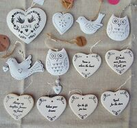 Ceramic Heart Hang Decoration Shabby Chic Vintage Distressed Sign Plaque Gift