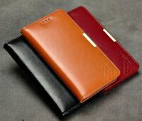 Genuine Calf Leather  Slim Wallet Case Cover Samsung Galaxy Note 4 Magnetic Lock
