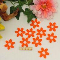 10 orange Blumen Filz 3,8cm Karten Basteln Geschenk Frühling Streudeko