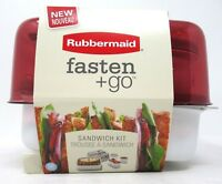Rubbermaid Fasten+Go Sandwich Kit Set Lunch Box Container Marsala Red 9 Piece