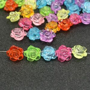 100 Mixed Colour Transparent Acrylic Flatback Rose Flower Charm Beads 10mm