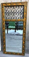Vintage John Richard Hand-Painted Trumeau Style Mirror w/ Gilt, Iron Scrollwork