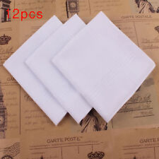 12pc Handkerchiefs Plain White Men x 40cm 100% Cotton Square Pocket Hankie Hanky