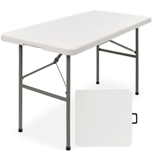 4 ft Indoor Outdoor Portable Folding Plastic Dining Table with Handle, Lock for