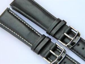 Classic Styling Smooth Semi-Matt Genuine Calf Leather Padded Watch Strap