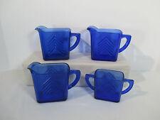 Hazel Atlas Cobalt Blue Chevron Pitchers Sugar Bowl Art Deco Vtg 1930 Lot of 4
