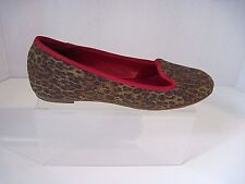 COLE HAAN MORGAN SLIP ONS BALLET FLATS LEOPARD CANVAS RED TRIM NIKE AIR 6 B