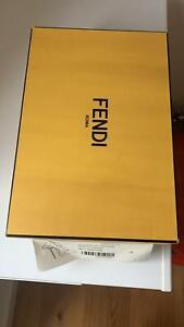FENDI ROMA Leather Court Shoes Size 40 UK 7 US 9.5 Mink Fur Slim Heel