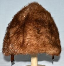 Vintage Genuine Mink Fur Autumn Haze Brown Womens Hat with Hair Combs Size Small