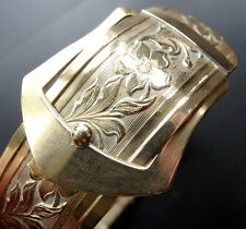 antique Victorian bangle bracelet gold plate ornate flower belt buckle clasp N61