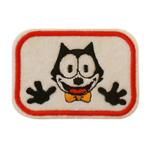 Embroidered Felix The Cat Sew & Iron On Patch On White Felt Retro Cartoon