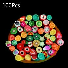 100 pcs Fimo Artificial Fruit Slices DIY Sticks Rod Nails Art Tips Clay Toys