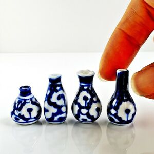 Dollhouse Miniatures Ceramic Pot Vase Flower Mini Fairy Garden Decor Supply Set