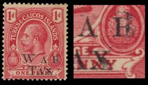"""TURKS and CAICOS MR10a - King George V """"War Tax Double Ovpt"""" (pa94220)"""