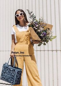 NWT ZARA MUSTARD LINEN CROPPED JUMPSUIT WITH BUTTONS 2637/496