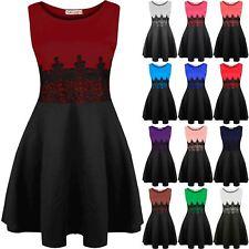 New Womens Mini Dress Ladies Sleeveless Waist Lace Flared Franki Skater Dresses